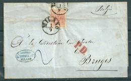 Yv 3 Sur Lettre De Milano Via Coeln (Cologne) à Bruges (Belgique) Cachet PD - 01 Aou 1856 => 05 Sep 1856 - Lombardo-Venetien