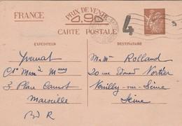 Entier Iris Interzone  Cachet Censure 4 Marseille Gare 21/1/1941 Pour Neuilly Sur Seine - Postal Stamped Stationery