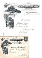 MONT SAINT MICHEL LETTRE ENTETE AVEC ENVELOPPE DE L HOTEL POULARD AINE A LA RENOMMEE DE L OMELETTE ANNEE 1903 - Francia