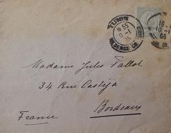 R1631/2270 - REGENCE DE TUNIS - N°24 Seul Sur ✉️ (oxydation) TUNIS (TUNISIE) 10 JANVIER 1905 à BORDEAUX (FRANCE) - Tunisia (1888-1955)