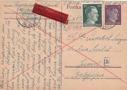 """Card Gemeinschaftslager """"Grüner Baum Kochsted"""" Durch Eilboten To Jumet (Belgien) 1944 - Briefe U. Dokumente"""