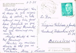 35843. Postal SAN PEDRO De Las DUEÑAS (Leon) 1975. Fechador A.P. Agencia Postal - 1931-Hoy: 2ª República - ... Juan Carlos I