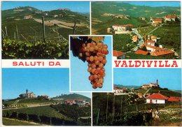 Saluti Da Valdivilla Con Grappolo (Cn). Multivisione. VG. - Cuneo