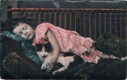 Chat Fillette  - Cat And Child - Meisje Poesje -katze, Kind- Gatto- - Chats