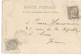 Yonne ANCY LE FRANC CAD Type 18 N° 107 + Taxe N° 29 Sur Cpa Le Canal 1905    ...G - 1877-1920: Semi-moderne Periode