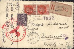 Carte Photo Famille En Vélo En Recommandé Pour Budapest Censure Oberkommando Der Wehrmacht CAD Cannes 1943 - Marcophilie (Lettres)