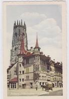 Fribourg. La Tornalletaz Et La Cathédrale, Voiture à Cheval - FR Fribourg