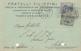 Torre Annunziata. 1924. Cartolina Postale PUBBLICITARIA .... CALCE E MATERIALE DA COSTRUZIONE ... - 1900-44 Vittorio Emanuele III