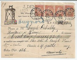 Reçu Chatelet 1897 Avec Timbres - Belgique
