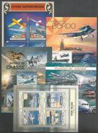 5 Pcs NIGER - SIERRA LEONE -  GUINEA - MNH - Transport - Airplanes - Militaria - 2012 - 2016 - Airplanes