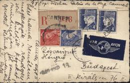 Carte Postale Photo En Recommandé Par Avion YT Petain 522 X2 + Mercure 407 + 412 CAD Cannes 1942 - Storia Postale