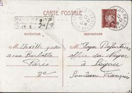 Entier 1,2 Petain CAD Paris 113 Hôtel De Ville Cachet Paris RP Avion Surtaxe Aérienne Perçue 3,5F Rare Pour Soudan Segou - Biglietto Postale