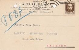 Milano.  1930. Cartolina Postale PUBBLICITARIA  ... ATTREZZI  ACCIAIO PER IMPRESE STRADALI ... - 1900-44 Vittorio Emanuele III