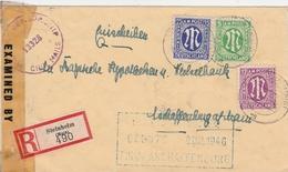 Allemagne Bizone Lettre Recommandée Censurée Steinheim 1946 - Bizone
