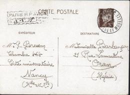 Entier CP 0,8 Petain CAD Nancy 1942 + Cachet Paris RP Avion Surtaxe Aérienne Perçue 1 FR - Postal Stamped Stationery