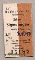 BRD - Entwertete Pappfahrkarte Edmond   -->  Rückfahrkarte / Scheer - Sigmaringen - 1,00 Auf 0,90 - Railway