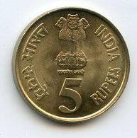 India 5 Rupees 2010 Platinum Anniversary Of The National Bank - India