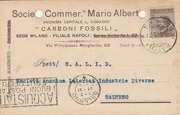 Napoli.  1925.  Cartolina Postale PUBBLICITARIA  ...SOCIETA' COMMERC.LE MARIO ALBERTI - CARBONI FOSSILI ... - 1900-44 Vittorio Emanuele III