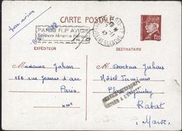 Entier 1,2 Petain Paris 1942 Cachet Paris RP Avion Surtaxe Aérienne Perçue + Service Interrompu Retour Envoyeur - Postal Stamped Stationery