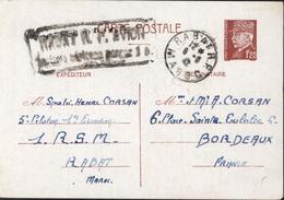 Entier 1,2 Petain Rabat RP Maroc 6 6 1942 Cachet Rabat RP Avion Taxe Aérienne Perçue 1F Soldat RSM - Used Stamps