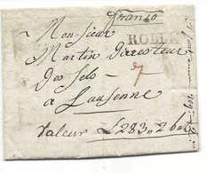 ROLLE 1817, Franco, Chiffre 7 En Rouge, Lettre Adressée Au Directeur Des Sels à Lausanne, Contenu, De LONGIROD. Vaud. - Suisse