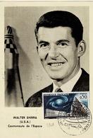 TP N° 1362 Seul Sur Carte Postale De Walter Shirra (cosmonaute Del'espace) Avec Signature Au Verso - 1961-....