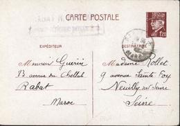 Entier 1,2 Petain Rabat RP Maroc 1942 Cachet Rabat RP Avion Taxe Aérienne Perçue - Used Stamps