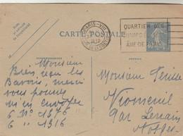 Entier 237CP1 Date 210 Semeuse Cachet Flamme PARIS VIII 30/9/1932 Pour Vioménil Par Lerrain Vosges - Postal Stamped Stationery