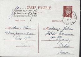 Entier 1,2 Petain CAD Paris RP Départ 1942 Cachet Paris RP Avion Surtaxe Aérienne Perçue 1,5 - Postal Stamped Stationery