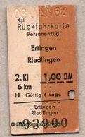 BRD - Entwertete Pappfahrkarte Edmond   -->  Rückfahrkarte / Ertingen - Riedlingen -1,00 DM - Railway