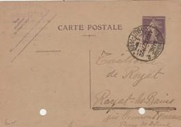 Entier 236CP1 Semeuse Entête ETTER Gravure Cachet MULHOUSE GARE Haut Rhin 13/12/1927 Pour Royat - Entiers Postaux