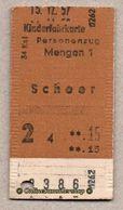 BRD - Entwertete Pappfahrkarte Edmond   -->  Kinderfahrkarte / Mengen 1 - Scheer - **,15 DM - Bahn