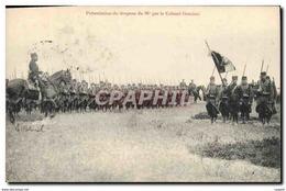 CPA Militaria Presentation Du Drapeau Du 96eme Par Le Colonel Graziani - Personnages