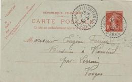 Entier 138CP1 Date 751 écrite De Jérusalem Cachet Perlé GRUEY Les SURANCE Vosges 1/9/1908 à Vioménil Par Lerrain - Entiers Postaux