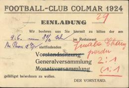 FCC Football Club Colmar 1924 Convocation En Allemand Einladung CAD Colmar Gare Bas Rhin 1927 YT 189 - Marcofilia (sobres)