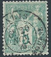 FRANCE - 1876 - Sage Type I - YT N°64 - 5 C. Vert - Oblitéré - Bon Etat - 1876-1878 Sage (Type I)