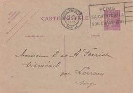 Entier 281CP1 Paix Date 339  Cachet Flamme REIMS Marne 18/3/1935 à Vioménil Par Lerrain Vosges - Postal Stamped Stationery