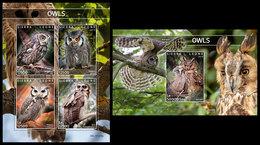 SIERRA LEONE 2019 - Owls. M/S + S/S Official Issue [SL191208] - Pájaros