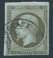 FRANCE 1860 - Napoléon - YT N°11 - 1 C. Olive - Oblitéré - TB Etat - 1853-1860 Napoléon III