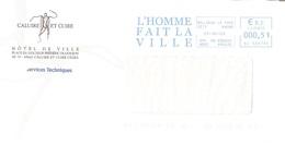 France 69 Rhône Flamme Sur Lettre EMA Mairie CALUIRE ET CUIRE L'HOMME FAIT LA VILLE - 842 - Marcophilie (Lettres)