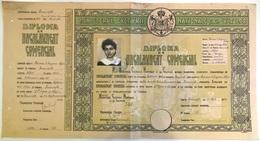 "Romania, 1942, Vintage Bachelor's Diploma - ""Domnita Balasa"" Bucuresti, WWII - Diploma & School Reports"
