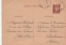 Entier 512CP1 Pétain De SEMUR En Auxois Côte D'Or 5/10/1941 à Villeurbanne Rhône - Postal Stamped Stationery