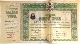 "Romania, 1943, Vintage Bachelor's Diploma - ""Domnita Balasa"" Bucuresti, WWII - Diploma & School Reports"