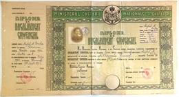 """Romania, 1943, Vintage Bachelor's Diploma - """"Domnita Balasa"""" Bucuresti, WWII - Diplomas Y Calificaciones Escolares"""