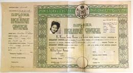 "Romania, 1945, Vintage Bachelor's Diploma - ""Domnita Balasa"" Bucuresti, WWII - Diploma & School Reports"