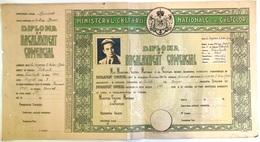 Romania, 1945, Vintage Bachelor's Diploma - Boys Highschool Brasov, WWII - Diploma & School Reports