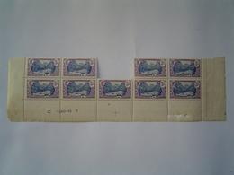 PLANCHE N° 37 : 9 TIMBRES 5 F Violet & Bleu /  ETABLISSEMENTS DE L' OCEANIE / TAHITI ( FRANCE ) - Tahiti