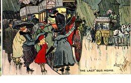 CPA  - GB  - The Last Bus Home  - Illust : Ludovici  - écrite 1904 - Humour