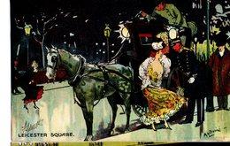 CPA  - GB  - Leicester Square   - Illust : Ludovici  - écrite 1904 - Humour