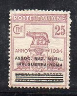 Y46 - REGNO 1924 ,  Sassone  N. 72 * Linguella  (M2200). ASSOC.NAZ.MUTIL.INV.GUERRA-ROMA - Franchigia